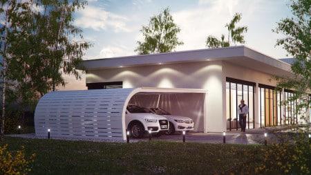 Dass sich visueller Anspruch und Energieeffizienz nicht ausschließen, zeigt diese Carportüberdachung mit integrierten Solarmodulen. (Foto: epr/solarcarporte.de)